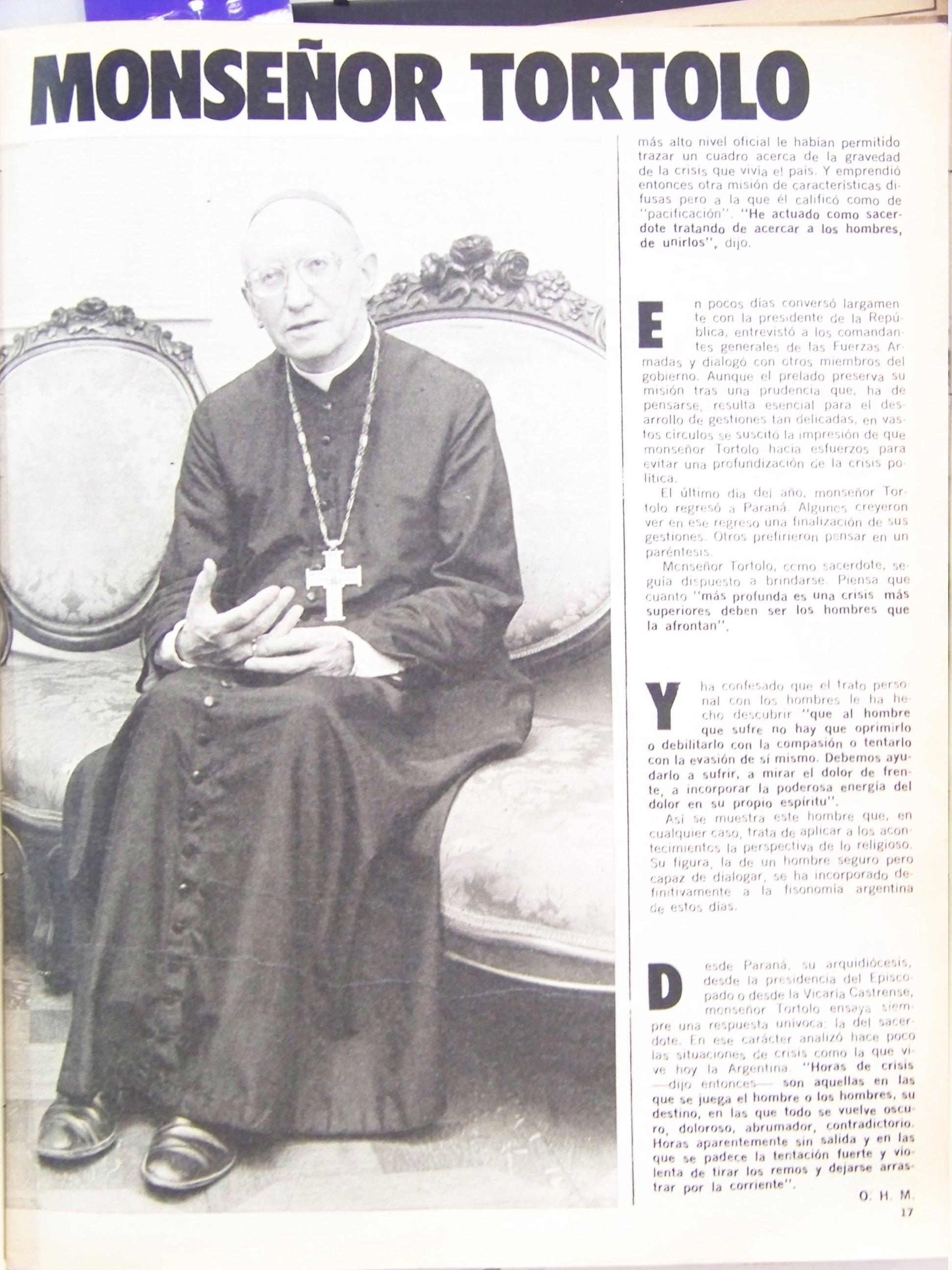 Entrevista a Adolfo Tortolo, Revista Gente, enero 1976